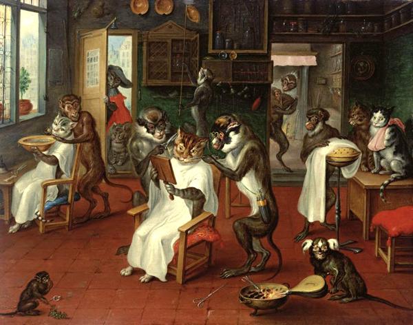 Dość psychodeliczna, jak na tamte czasy wizja, wyszła spod pędzla holenderskiego malarza Abrahama Teniersa. Barber Shop with Monkeys and Cats (1629-1670)