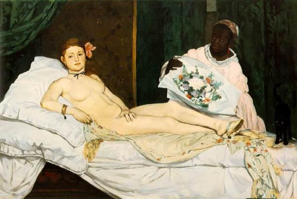 Kolejny impresjonista- Eduard Manet- także umieścił kota na swoim obrazie. Czy potraficie go dostrzec? Olimpia (rok 1863)