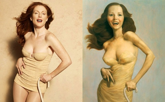 "Julianne Moore- Harpers Bazaar 2008 / John Currin ""The Cripple"" 1997"