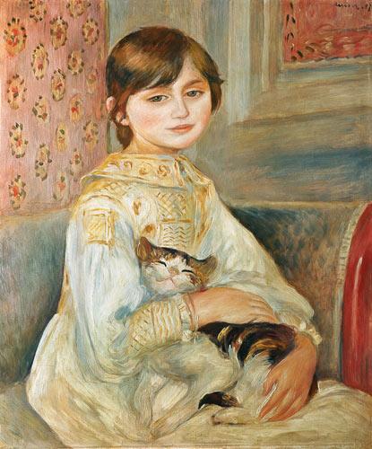 """Rozczulający wizerunek kota możemy podziwiać na obrazie Renoira: """"Portret Julie Manet z kotem"""" (1887)"""