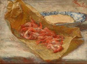 Zaprzyjaźniona z Manetem, wzorowała się na jego stylu w takich pracach jak Les crevettes