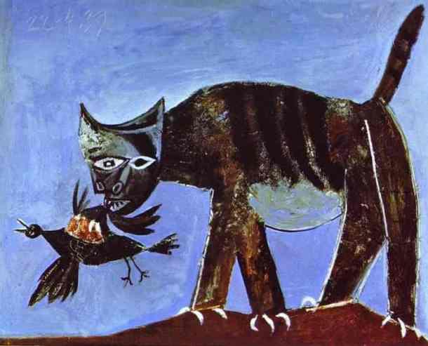 Zraniony ptak z kotem (1938)