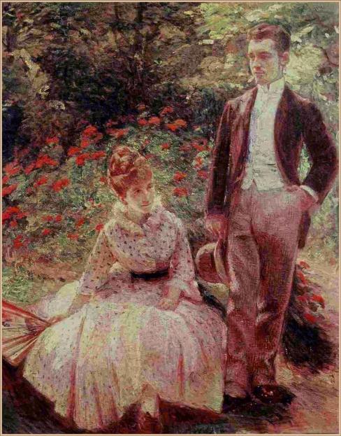 Syn i siostra artystki w ogrodzie w Sevres (1890 r.)