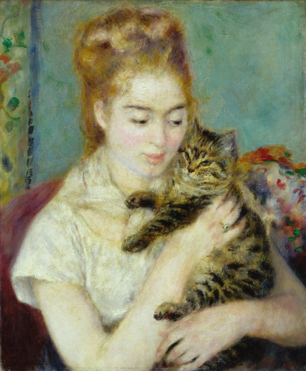 Kobieta z Kotem (1875). Pierre-Auguste Renoir