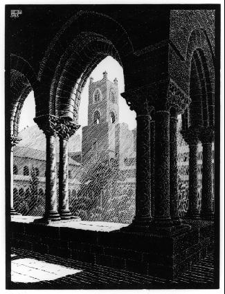 Cloister of Monreale Sicily 1933 wood engraving