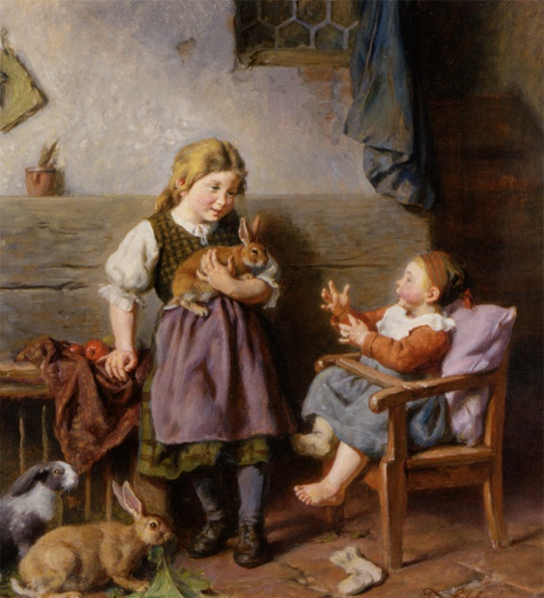 Schlesinger_Felix_Children_Playing_With_Rabbits_Oil_on_Board-large