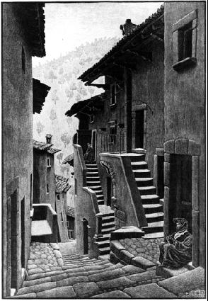 Street in Scanno, Abruzzi 1930 woodcut